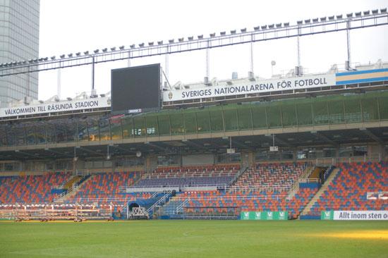 Råsunda fotbollsstadion, Pressetribüne und Hochhaus, 2012